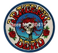 "Wholesale Wholesale Customized Patches - 3.5"" Grateful Dead Skull & Roses Music Band Embroidered LOGO Iron On Patch Emo Goth Punk Rockabilly Customized patch available"