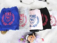 Wholesale Cute Girl Pink Underwear - vs love pink Girl Sexy 100% Cotton Stripe Panties Women Underwear Vs Pink with tag Bragas Briefs Cute Letterbest quality