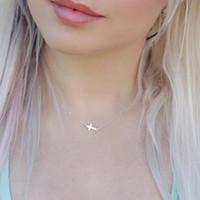 Wholesale Sideways Crosses Necklace - Wholesale-Fashion Sideways Cross Necklace Jewelry Cross Pendant Necklace Women Tiny Jewelry Necklace 2016 New Arrival