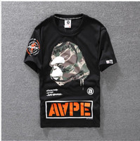 Wholesale Mens Camo Shorts - Summer Mens Cartoon Apes blouses T-Shirts Crew Neck Short-sleeve classic camo Printed Supply Co Male Tops Tees for lovers casual tees