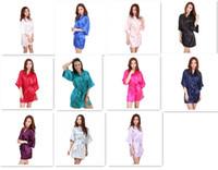 ingrosso pigiama di seta kimono-11 colori Donna da donna Solid plain rayon di seta corta Robe Pajama Lingerie Nightdress Kimono Gown pjs Abito donna elegante M010