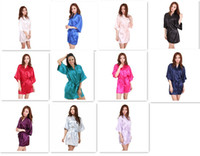 Wholesale Ladies Polyester Dress - 11 colors Ladies womens Solid plain rayon silk short Robe Pajama Lingerie Nightdress Kimono Gown pjs Women Dress elegant M010