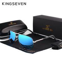 men s óculos polarizados de alumínio venda por atacado-Atacado-KINGSEVEN de alumínio e magnésio dos homens óculos de sol polarizados homens revestimento espelho oculos masculinos Eyewear acessórios para homens K725