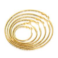 Wholesale Half Hoop Earrings - 6 sizes mixed order 3,4,5,6,7,8cm full crystal cz stones inner outer half stones hoops 18k gold round hoop earrings for women #025Y