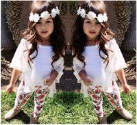 Wholesale Three Piece Vest For Kids - European Style Baby Girl Clothing 3pcs Set Three Quarter Sleeve Coat White Vest and Broken Flower Trousers Clothes for Kids