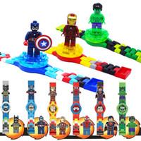 Wholesale Ironman Toys Avenger - Plastic Kid Watch Batman Toy Mini Avenger Super Hero Spiderman Ironman Hulk Captain America Action Figure Building Blocks Set
