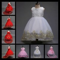 Wholesale Gauze Flower Wrapping - Flower Girl Dresses With Long Train For Weddings White Pink Red Mesh Embroidery Gauze Children Party Dress Kids Clothes