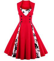 Wholesale Dot Chiffon Dresses - plus size 5XL Women's Polka Dot Retro Vintage Style Cocktail Party Swing Dress