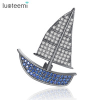 Wholesale Small Brooches For Wedding - Blue Zircon Brooches For Women Party Clothes Accessories Gun-Black color Corsage Pins New Arrival Small Sailboat design LUOTEEMI