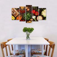 quadro cheio de parede venda por atacado-5 Painéis Wall Art Table Top Completo De Legumes Frescos Frutas E Outros Alimentos Saudáveis Na Lona Restaurante Decoração De Madeira Emoldurado Pronto para Pendurar