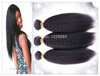 16 zoll yaki weben großhandel-Unverarbeitete Brasilianische Jungfrau Huma Haarverlängerung Afro Grob Yaki Verworrene Gerade Haar Spinnt Natürlichen Schwarzen 10-30 zoll 1 teile / los