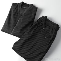 Wholesale Black Milk Suit - Handsome style men's pants suit~ milk silk fabrics~ men's reduce age mens striped jumpsuit
