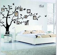 Wholesale Family Photos - large 200 * 250cm   79 * 99in black 3d diy photo wood pvc wall stickers   adhesive family wall stickers wall mural art home decor