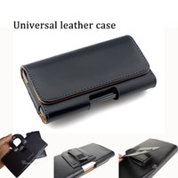 Wholesale Horizontal Leather Case - Genuine Leather Universal Horizontal Holster 3.5inch to 6 inch strong cellphone protector mobile holder cellphone case for smart cellphone
