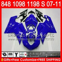 Wholesale Green Kit Fairing - Bodywork For DUCATI 848 1098 1198 S 07 08 09 10 11 848R 1098R 75NO16 848S blue black 1198R 1098S 1198S 2007 2008 2009 2010 2011 Fairing Kit