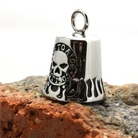 Wholesale Ghost Pendants - 2pcs lot Support Dropship Live To Ride Biker Style Pendant 316L Stainless Steel Jewelry Popular Ghost Skull Motorbiker Pendant
