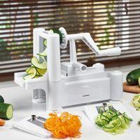 cortadora de frutas al por mayor-Mano Máquina de corte espiral vegetal máquina de cortar 3 en 1 función multi cortador de la fruta de moda Twister Peeler herramienta de la cocina 28wa KK