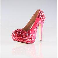 ingrosso scarpe da sposa rosse 11-2017 Splendido Colore Rosso 8 cm 10 cm 11 cm Altezza tacchi Partyprom Matrimonio Scarpe a spillo Plus Size US 10.5 US 11 Scarpe donna