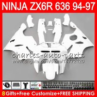 Wholesale Kawasaki Zx6r Fairing 1995 - 8Gifts 23Colors For KAWASAKI NINJA ZX636 ZX6R 94 95 96 97 ZX-6R ZX-636 gloss white 33NO23 600CC ZX 636 ZX 6R 1994 1995 1996 1997 Fairing kit