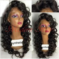 Wholesale Heat Resistant Brown Hair Wig - 2017 Top Sale Loose Curly Wigs Synthetic Lace Front Wigs Black With Baby Hair Heat Resistant Brazilian Hair Full Lace For Black Women