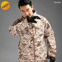 Wholesale Commander Military - Commanders Winter Outdoors Mens Brand clothing Thick Fleece Waterproof Shark Skin Soft Shell Military Army Camouflage Jacket Men