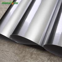 metal autoadhesivo al por mayor-0.6 Mx 3 M Impermeable Cepillo de Plata Brillo de Vinilo Pegatinas de Pared de Metal Decorativo Autoadhesivo Wallpaper Película Para la Decoración Del Hogar