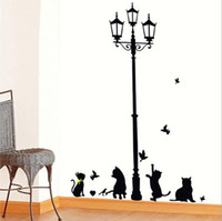 Wholesale Cute Animal Stickers - Estrella Black Cat Wall Stickers Wallpapers Home Decor Wall Art Stickers Cute Cat Wall Ppaer Free Shipping