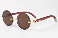 Wholesale Foot Wraps - 2018 luxury brand vintage Sunglasses for women pilot buffalo horn wooden rimless round sunglasses and real wood foot glasses with case