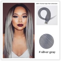 "Wholesale Brazilian Hair Packages - 20"" Tape in Hair Extension Fashion Silver Grey Granny Hair Brazilian Human Virgin Long Straight Hair 20PCS Package 30g Free Shipping"