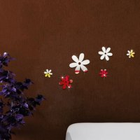 6 unids / set flores pared espejo acrílico espejos decorativos pegatinas de pared 3d margarita decoración del hogar papel de arte de la pared
