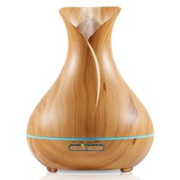 Wholesale Wholesale Led Lights For Vase - 400ml Large Capacity Aroma Essential Oil Ultrasonic Diffuser vase shape Air Humidifier with 7 Color Changing LED Lights for Office Home