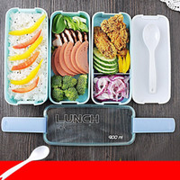 Wholesale Wholesale Candy Lunch Boxes - Lunch Box Environment Protection Student Three Layers Lattice Plastic Bento Boxes Candy Colored Square Microwave Oven Tableware 10jh E1 R