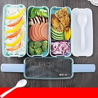 oven china - Lunch Box Environment Protection Student Three Layers Lattice Plastic Bento Boxes Candy Colored Square Microwave Oven Tableware jh E1 R