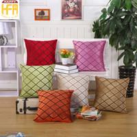 Wholesale Velvet Decorative Cushions - 43*43Cm Decorative Pillow Covers Cushion Case Grid Velvet Pile Pillow Covers Simplicity Cushion Covers Removable Washable Multi Colors
