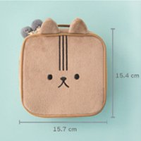 Wholesale Plush Cosmetic Bags - cute animal embroidery cosmetic bag square osdy small and portative plush 100% eiderdown grid layout large capacity