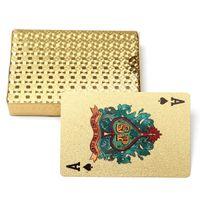 tarjetas de papel de oro al por mayor-50 piezas Edición de oro 24 K Tarjetas de naipes de oro Tarjeta mágica Plástico Lámina de oro plateada Tarjetas de póquer a prueba de agua