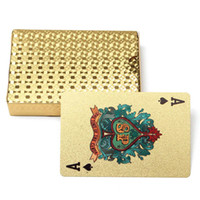 Wholesale Plastic Game Cards - Gold Edition 24K Golden Playing Cards Deck Magic card Plastic Gold Foil Plated Poker Cards Waterproof