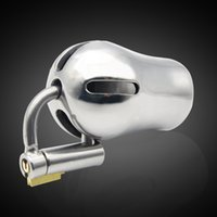 Wholesale Chastity Locked Plugged - Male Luxury Chastity Stainless steel Cage with Titanium Plug and PA Lock CD117