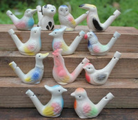 Wholesale Water Bird Whistle - 200pcs new arrival water bird whistle clay bird ceramic Glazed bird whistle-peacock Birds Free Shipping