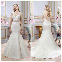 Wholesale Vintage Satin Inspired Wedding Gowns - Vintage Mermaid Satin Wedding Dress V Neck Backless Zipper Bridal Dress Wedding Gowns Custom Made Size Designer Inspired Bridal Dress