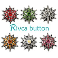 Wholesale High Quality Silver European Charms - D01665 Rivca Snaps Button Jewelry Hot wholesale High quality Mix styles 18mm Metal Ginger Snap Button Charm Rhinestone Styles NOOSA chunk