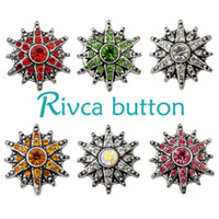 D01665 Rivca Snaps Button Jóias Hot wholesale Estilo de mistura de alta qualidade 18mm Metal Ginger Snap Button Charm Rhinestone Styles NOOSA pedaço