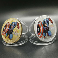 Wholesale Real Hollywood - 10 pcs the 2018 American Captain Hollywood Marvels movie hero silver plated 24k real gold plated 40 mm coins badge Elizabeth coin