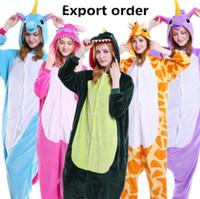 Wholesale Tigger Pajamas Costume - Kids Adults Animal Pajamas Unicorn Bear Stitch Skull Pig Dinosaur Zebra Panda Owl Tigger Pikachu Rabbit Cosplay Sleepwear Costumes LJJO3137
