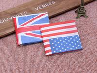 Wholesale Wholesale Leather Card Wallet Usa - UK USA flag wallet bifold promotional gift PU leather simple designer cheap wallet man wholesale men's wallet 10 piece