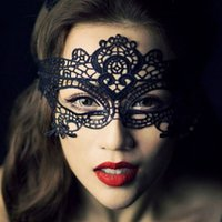 Wholesale Eye Mask Lace Lingerie - Wholesale-Sexy Black Lace Hollow Mask Party Mask Goggles Nightclub Fashion Queen Female Sex Lingerie Cutout Eye Masks for Masquerade