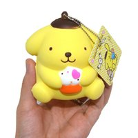 hot sale toy Lovely Il nuovo morbido rimbalzo Cup Cake pudding dog squishy. Con tag. Regalo a forma di ciondolo per bambini con catena a catena