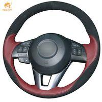 Wholesale Mazda Steering Wheel Covers - Mewant Wine Red Leather Black Suede Steering Wheel Cover for Mazda CX-5 CX5 2013-2015 Mazda 6 Atenza Mazda 3 2014 2015 CX-3 2016