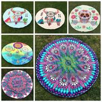 Wholesale Table Cloths Flowers - 26 Designs Mandala Round Beach Towels Polyester Dreamcatcher Skull Flower Beach Towel Yoga Mat Table Cloth Beach Shawls CCA5866 50pcs