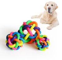Wholesale woven cat toy resale online - 6cm pet dog chews toys colorful bell woven ball Abrasion resistant cleaning teeth pet puppy cat toy sounding rainbow ball pet supplies
